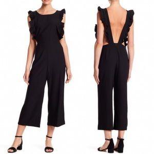 NWT Free Press Wide-Leg Jumpsuit Black polyester